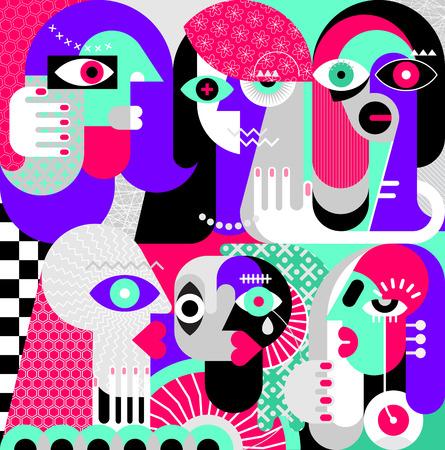 Five women and a man vector illustration. Modern abstract fine art painting. Vecteurs