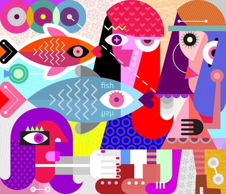 Modern abstract fine art Women and Fish vector illustration.