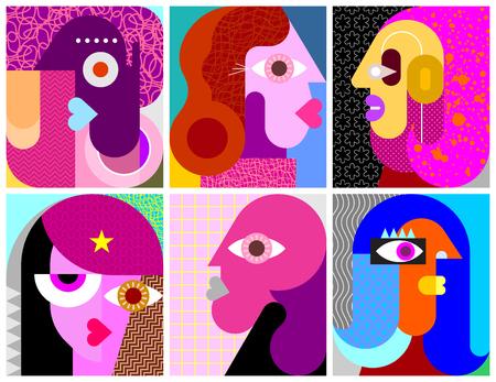 Six portraits illustration vectorielle d'art moderne. Composition de six visages abstraits différents. Vecteurs