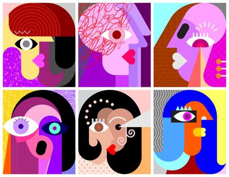 Sechs Gesichter, Gesichtsausdrücke moderne Kunst-Vektor-Illustration. Komposition aus sechs verschiedenen abstrakten Porträts.