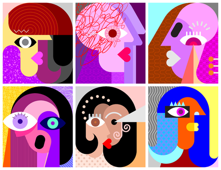 Six Faces, Facial Expressions modern art vector illustration. Composition of six different abstract portraits.