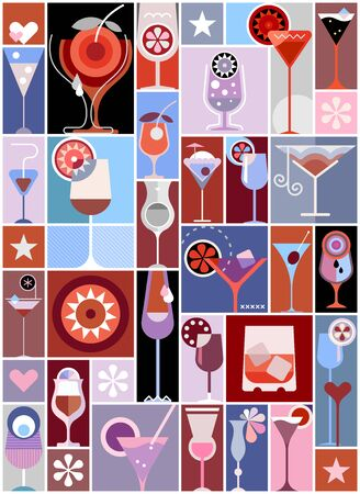 Pop art vector collage with many different cocktails. Cocktail party poster design.  イラスト・ベクター素材