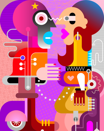 A man and a woman looking at each other vector illustration. Couple face to face. Modern fine art painting.