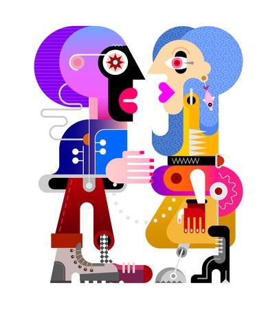Una bella mujer vestida de amarillo con una prótesis de extremidad inferior y un joven mirándose. Ilustración de vector de bellas artes contemporáneas. Imagen colorida aislada en un fondo blanco.