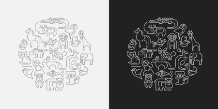 Two options of Zoo animals round shape vector illustration. Dark grey outline icons isolated on a white background and White outline icons isolated on a dark grey background.