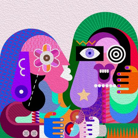 Funny girl and her serious friend graphic illustration. Contemporary fine art portrait of two women. Stockfoto