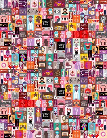 Grande collage pop-art di ritratti di persone, strumenti musicali e oggetti casuali. Sfondo vettoriale senza soluzione di continuità. Vettoriali