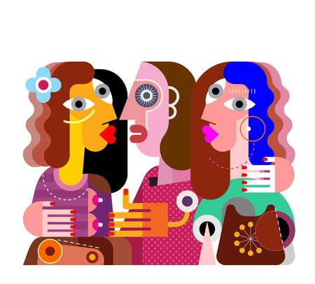 Twins girls, their ugly girlfriend and obsolete phone contemporary fine art vector illustration. Colorful image isolated on a white background. Illustration