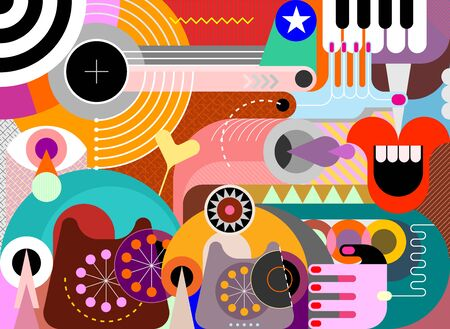 Abstract art design with obsolete phones and piano keyboard vector illustration.