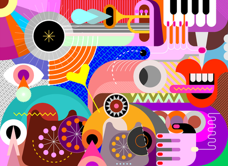 Art design with trumpet, piano keyboard and obsolete phones vector illustration. Abstract musical background. Illustration