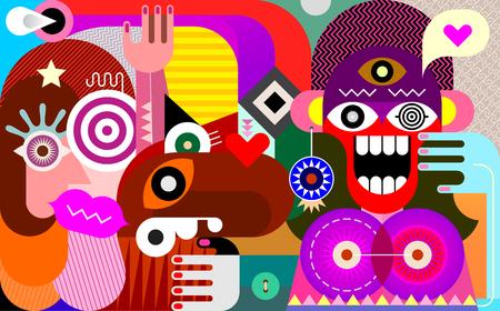 Vrolijke en verraste vrouw en haar vrienden op het gebied van fantasie vectorillustratie. Vector Illustratie