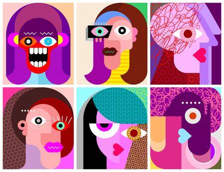 Sei facce, espressioni facciali arte moderna illustrazione vettoriale. Composizione di sei diversi ritratti astratti. Progettazione dei personaggi. Vettoriali