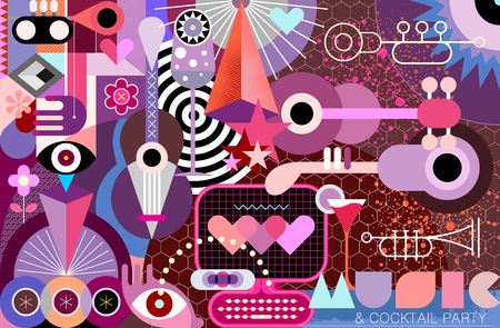 Modern abstract art design with musical instruments, cocktails and geometric shapes vector illustration.