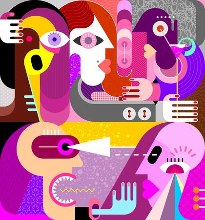 Large group of people vector illustration. People argue and quarrel modern abstract fine art painting .