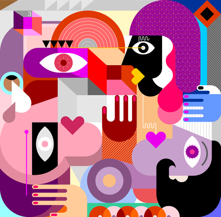 Modern abstract art painting with three persons and different geometric shapes. Three people vector illustration.