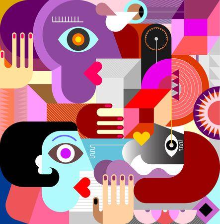 Cuadro de arte abstracto moderno con tres personas y diferentes formas geométricas. Ilustración de vector de tres personas.