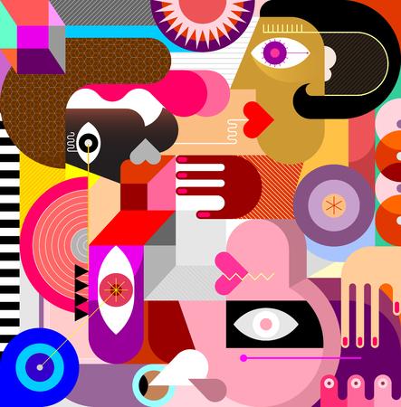 Arte abstracto moderno con tres personas y formas geométricas. Ilustración de vector de tres personas.
