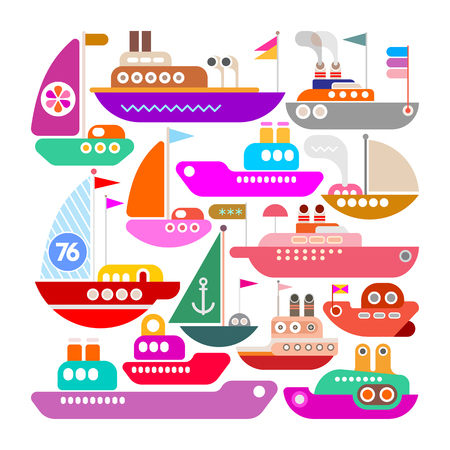 Colorful icons isolated on a white background Ships, Yachts and Boats vector design. Ilustração