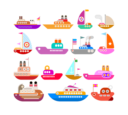 Colorful Ship vector icons isolated on a white background. Set of design elements. Illustration