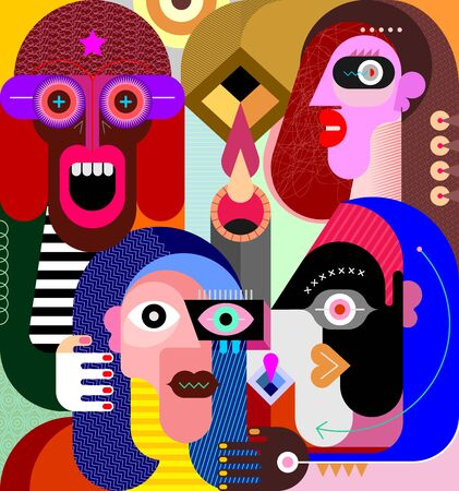 Abstract art portrait of four different people graphic illustration. The man with the star on his forehead laughs out loud or screams.