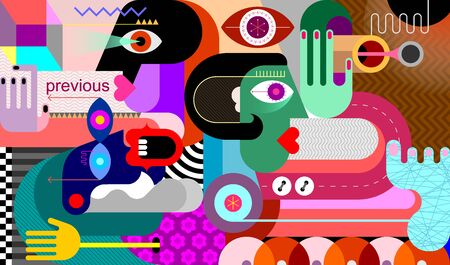 Three people looking in different directions modern abstract art graphic illustration.
