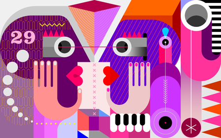 Modern abstract fine art Twins look at each other vector illustration.