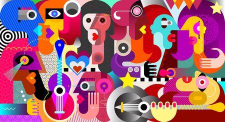 Gran grupo de personas en una ilustración de vector de arte abstracto festival de música.