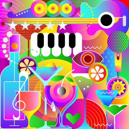 Musical and Cocktail party poster design, vector artwork. Decorative background. Illustration