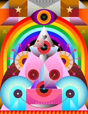 Modern art design with rainbow and abstract geometric shapes vector illustration.