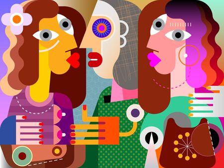 Chicas gemelas, su fea novia y teléfono obsoleto ilustración vectorial de bellas artes contemporáneas.