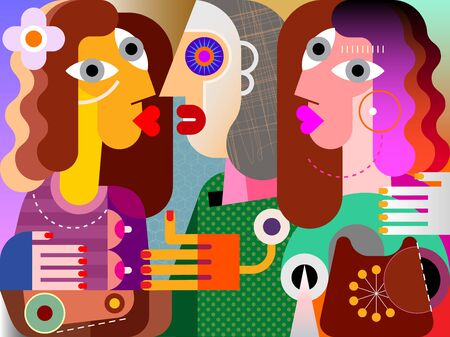 Twins girls, their ugly girlfriend and obsolete phone contemporary fine art vector illustration.