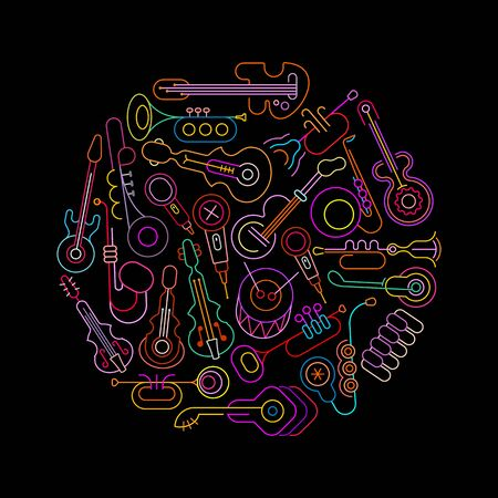 Neon colors isolated on a black background Musical Instruments and Microphones round shape vector design. A bunch of music instrument icons.