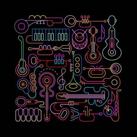 Neonowe kolory samodzielnie na czarnym tle Instrumenty muzyczne ilustracji wektorowych. Kwadratowy kształt z instrumentami muzycznymi i sprzętem. Ilustracje wektorowe