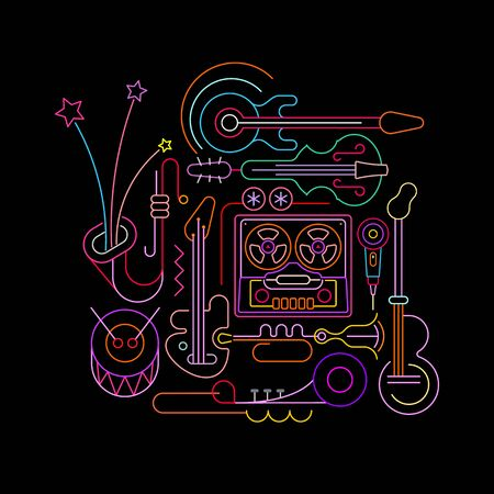 Neon colors isolated on a black background Old Tape Recorder and Musical Instruments vector illustration