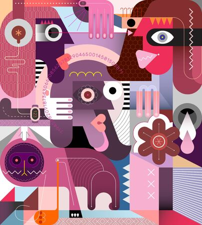 Three people and a cat vector illustration. Modern abstract art collage.