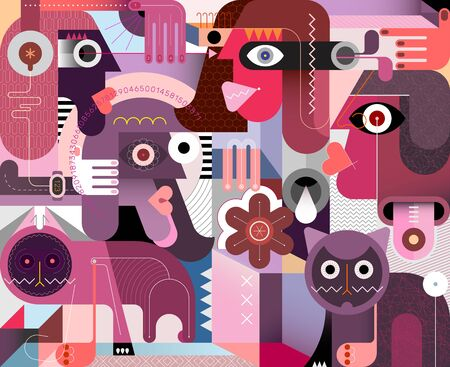 People and cats modern abstract art vector illustration. Neo cubism artwork.