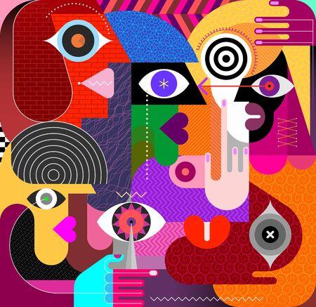Modern art portrait of Five People vector illustration.