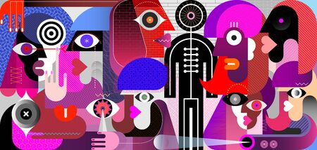 Large group of people and a black mannequin. Modern digital art vector illustration. Mixed design with people faces and abstract geometric shapes.