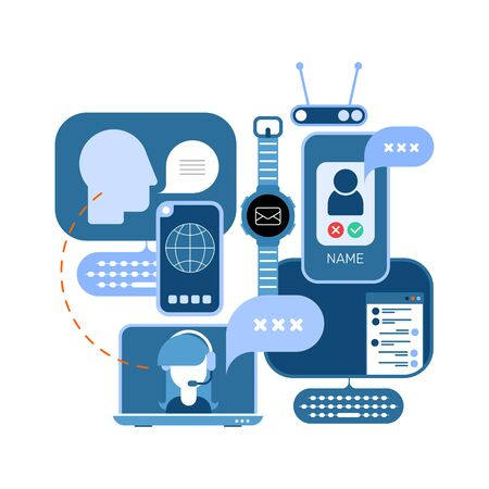 Online Communication conceptual vector illustration.  Design with computers and electronic devices isolated on a white background.
