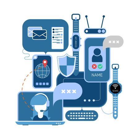 Online Communication and Electronic Devices vector illustration.  Design with computers, smartphones and laptops isolated on a white background.
