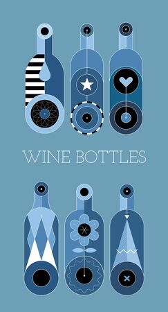 Six decorative wine bottles isolated on a blue background. Shades of blue vector illustration.