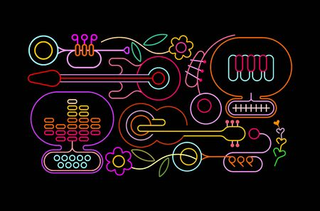 Neon colors isolated on a black background Music and Flowers vector illustration. Stok Fotoğraf - 147974575