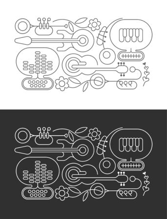 Line art designs isolated on a dark grey and on a white backgrounds Abstract Music and Flowers vector illustration. Stok Fotoğraf - 147975824