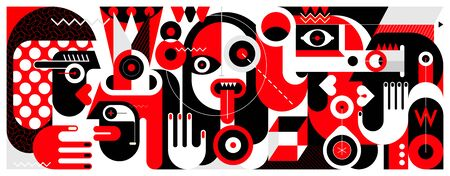 Red, black and white vector illustration of Group of Different People and A Bottle of Wine. Vecteurs