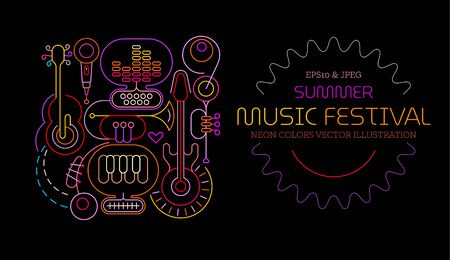Neon colors isolated on a black background Summer Music Festival vector poster design. Colored silhouettes of different musical instruments, equipment and text.