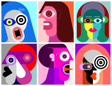 Six Portraits modern art vector illustration. Composition of six different abstract images of human face. Vecteurs