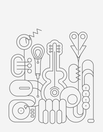 Dark grey line art silhouettes isolated on a light background Music Instruments Design vector illustration. Guitar, saxophone, piano keyboard, trumpet, microphone and gramophone. Ilustração