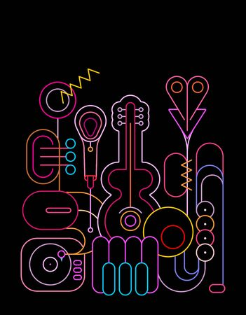 Neon colors isolated on a black background Music Instruments Design vector illustration. Line art silhouettes of guitar, saxophone, piano keyboard, trumpet, microphone and gramophone.