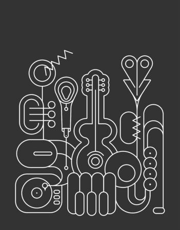 White line art silhouettes isolated on a dark grey background Music Instruments Design vector illustration. Guitar, saxophone, piano keyboard, trumpet, microphone and gramophone.