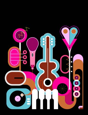 Flat style colored design isolated on a black background Music Instruments vector illustration. Art composition of guitar, saxophone, piano keyboard, trumpet, microphone and gramophone.